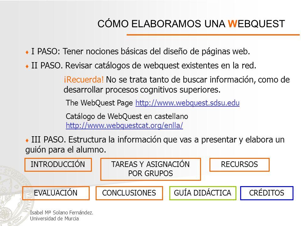 CÓMO ELABORAMOS UNA WEBQUEST I PASO: Tener nociones básicas del diseño de páginas web. III PASO. Estructura la información que vas a presentar y elabo