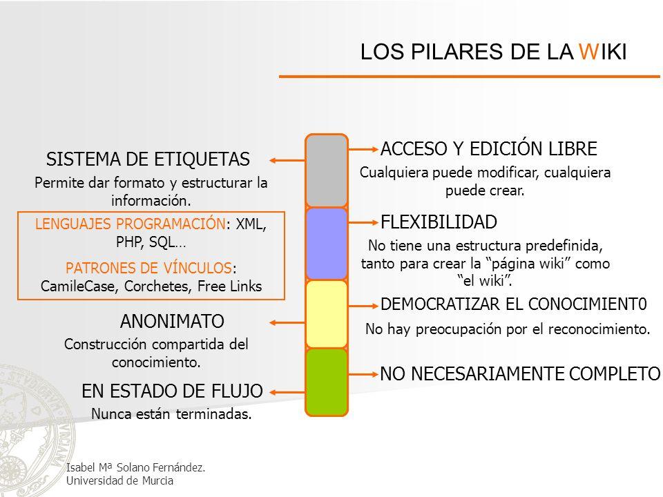 LOS PILARES DE LA WIKI ANONIMATO Construcción compartida del conocimiento. DEMOCRATIZAR EL CONOCIMIENT0 No hay preocupación por el reconocimiento. EN