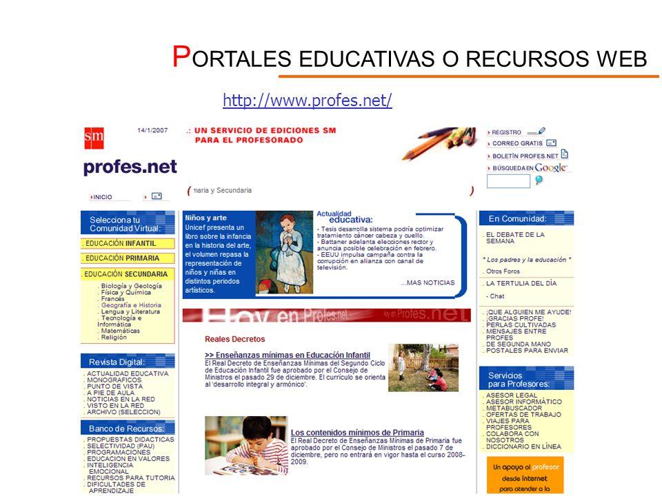 P ORTALES EDUCATIVAS O RECURSOS WEB http://www.profes.net/