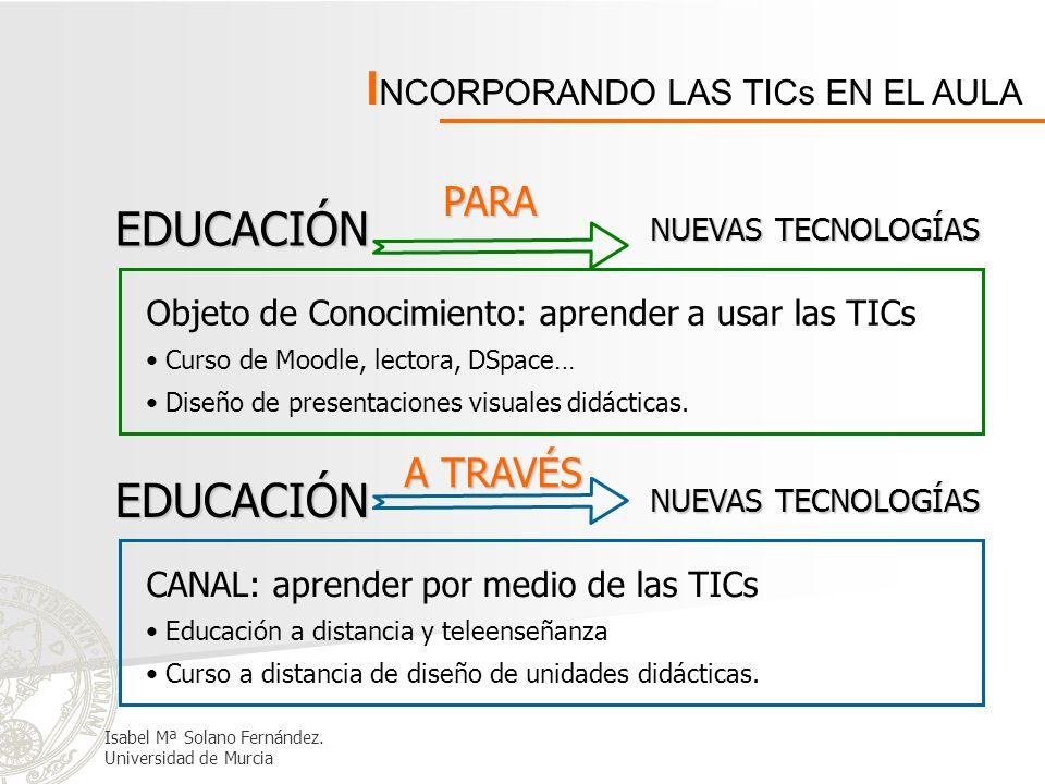 I NCORPORANDO LAS TICs EN EL AULA EDUCACIÓN CON NUEVAS TECNOLOGÍAS Recurso de enseñanza: complementariedad de medios Utilizar presentaciones visuales para el desarrollo de la asignatura.