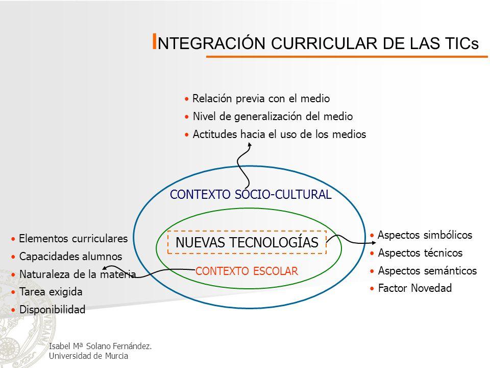 I NTEGRACIÓN CURRICULAR DE LAS TICs NUEVAS TECNOLOGÍAS CONTEXTO SOCIO-CULTURAL CONTEXTO ESCOLAR Elementos curriculares Capacidades alumnos Naturaleza