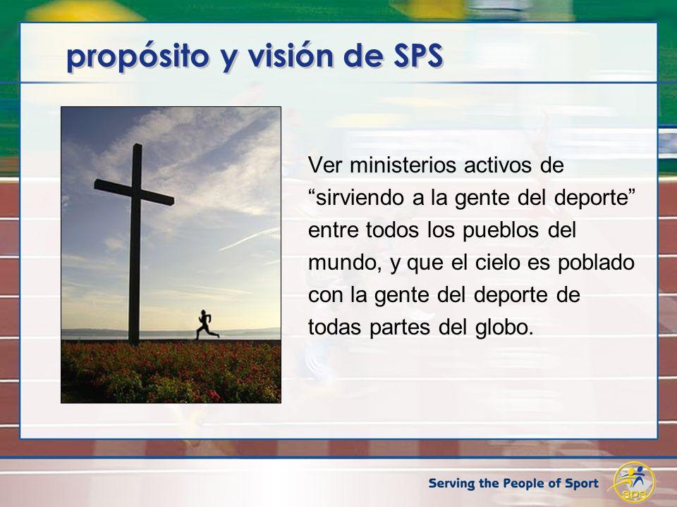 propósito y visión de SPS Ver ministerios activos de sirviendo a la gente del deporte entre todos los pueblos del mundo, y que el cielo es poblado con la gente del deporte de todas partes del globo.