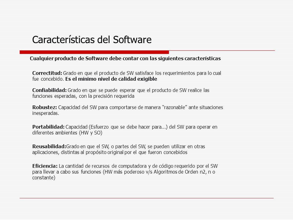 Cualquier producto de Software debe contar con las siguientes características Características del Software Correctitud: Grado en que el producto de SW