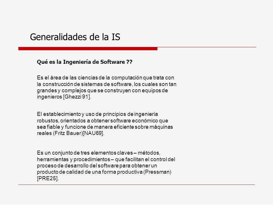 Generalidades de la IS Porqué la Ingeniería de Software ?.