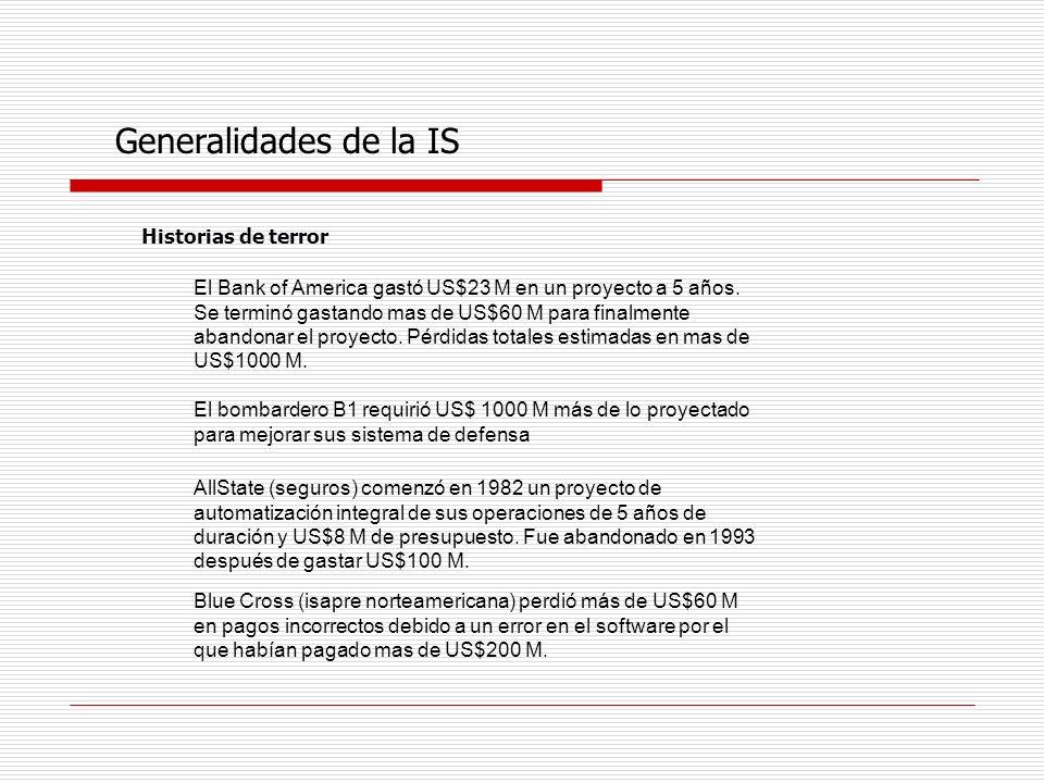 Generalidades de la IS Historias de terror El Bank of America gastó US$23 M en un proyecto a 5 años. Se terminó gastando mas de US$60 M para finalment