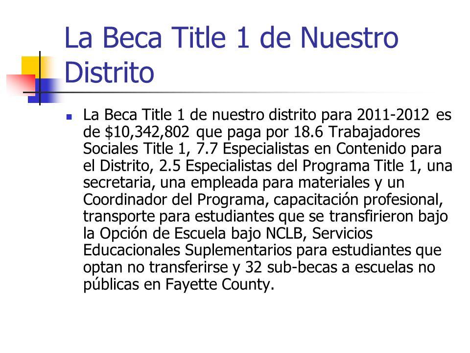 La Beca Title 1 de Nuestro Distrito La Beca Title 1 de nuestro distrito para 2011-2012 es de $10,342,802 que paga por 18.6 Trabajadores Sociales Title