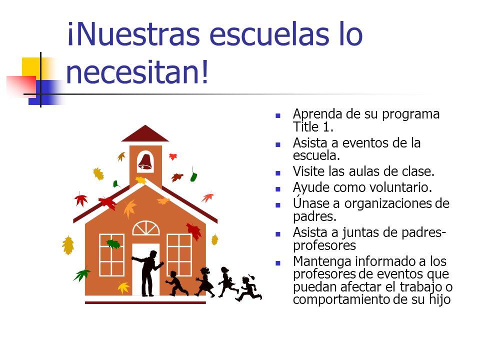 ¡Nuestras escuelas lo necesitan! Aprenda de su programa Title 1. Asista a eventos de la escuela. Visite las aulas de clase. Ayude como voluntario. Úna