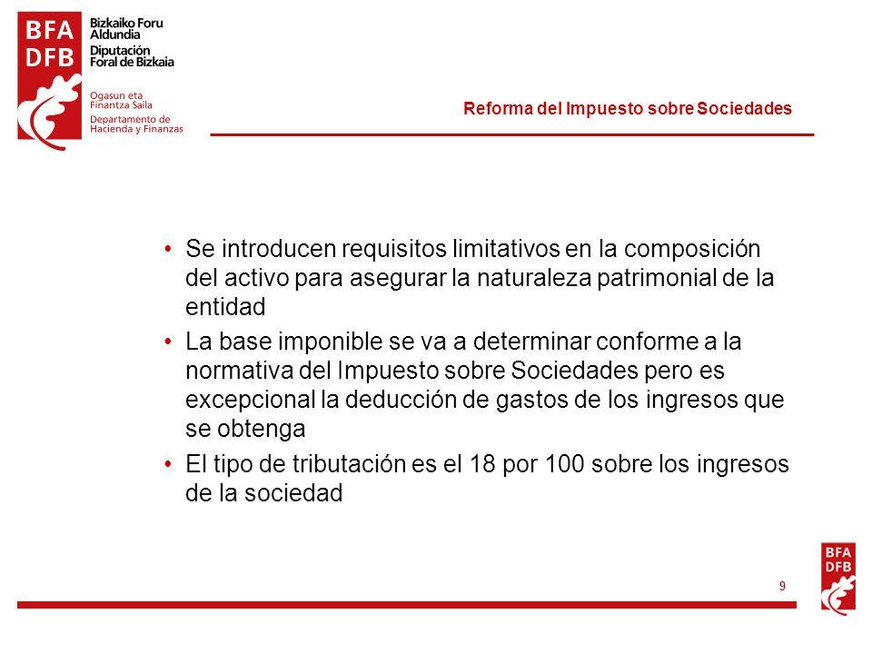 Reforma del Impuesto sobre Sociedades 9 Se introducen requisitos limitativos en la composición del activo para asegurar la naturaleza patrimonial de l