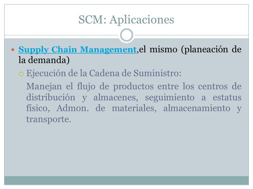 SCM: Aplicaciones Supply Chain Management, el mismo (planeación de la demanda) Supply Chain Management Ejecución de la Cadena de Suministro: Manejan e