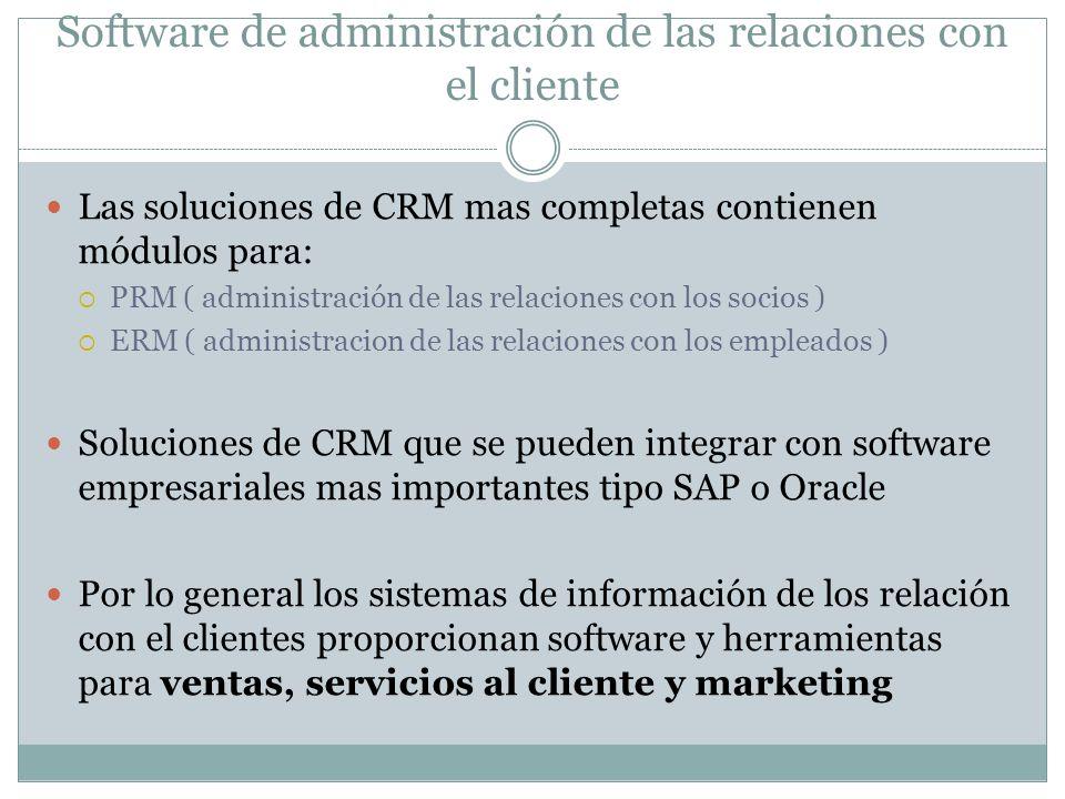 Software de administración de las relaciones con el cliente Las soluciones de CRM mas completas contienen módulos para: PRM ( administración de las re