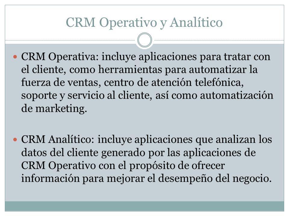 CRM Operativo y Analítico CRM Operativa: incluye aplicaciones para tratar con el cliente, como herramientas para automatizar la fuerza de ventas, cent
