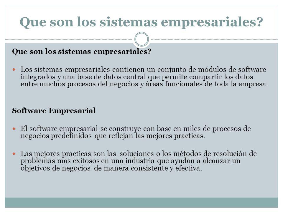 Que son los sistemas empresariales? Los sistemas empresariales contienen un conjunto de módulos de software integrados y una base de datos central que