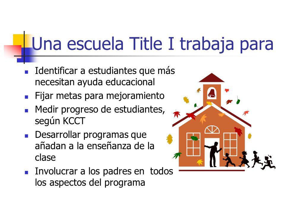 Una escuela Title I trabaja para Identificar a estudiantes que más necesitan ayuda educacional Fijar metas para mejoramiento Medir progreso de estudiantes, según KCCT Desarrollar programas que añadan a la enseñanza de la clase Involucrar a los padres en todos los aspectos del programa
