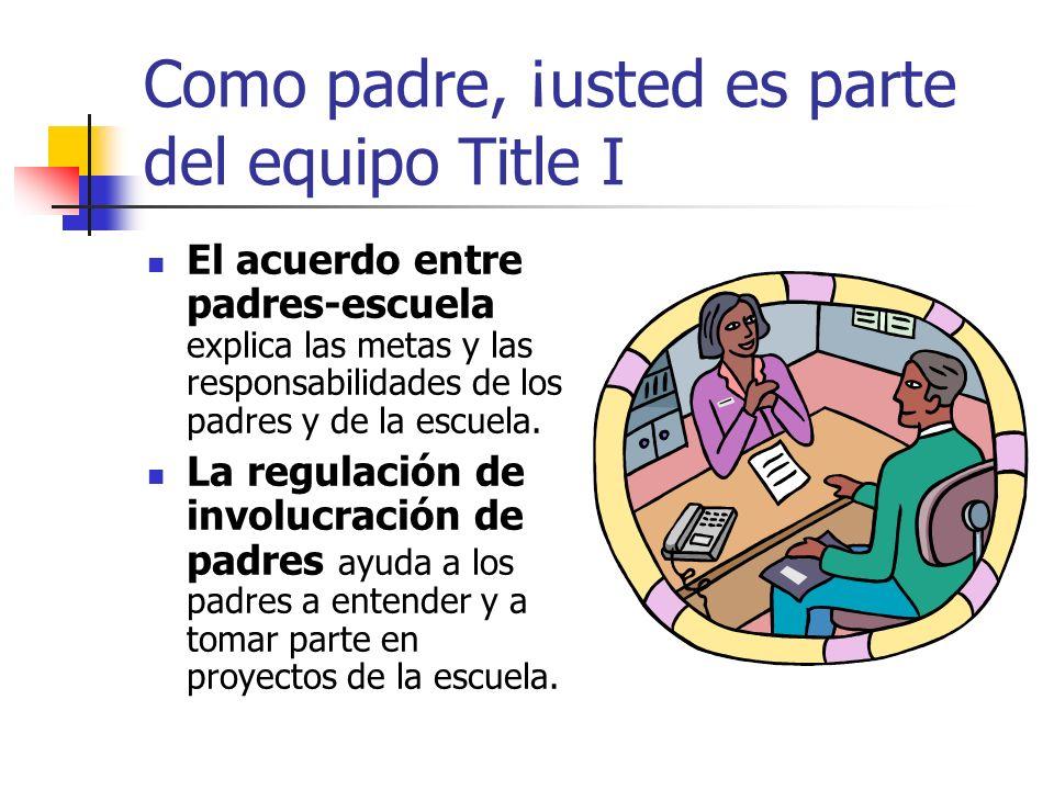 Como padre, ¡usted es parte del equipo Title I El acuerdo entre padres-escuela explica las metas y las responsabilidades de los padres y de la escuela.