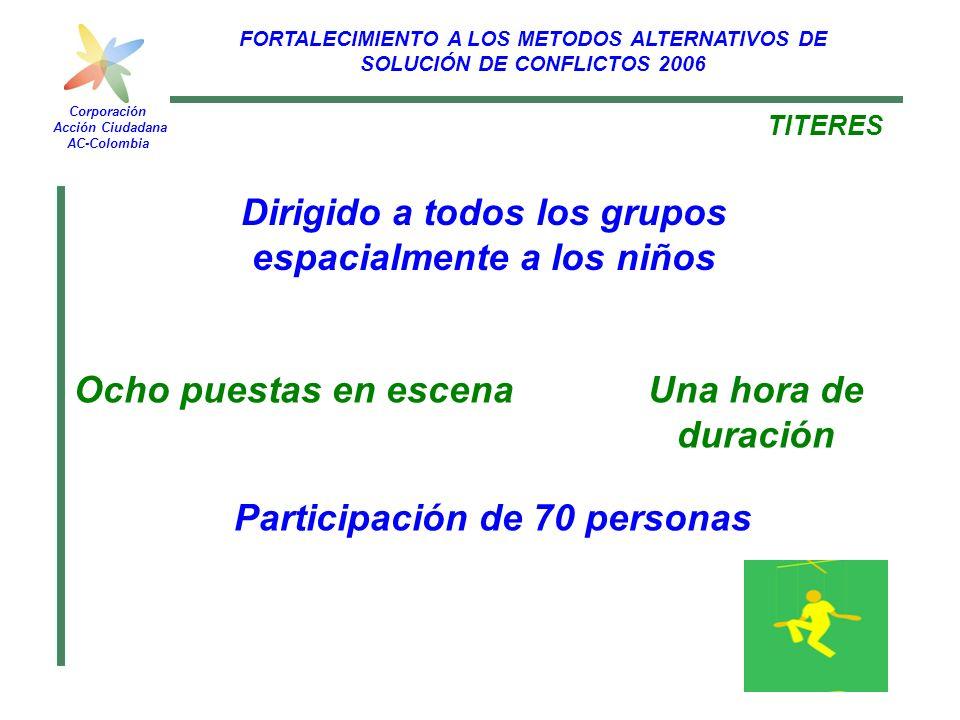 FORTALECIMIENTO A LOS METODOS ALTERNATIVOS DE SOLUCIÓN DE CONFLICTOS 2006 Corporación Acción Ciudadana AC-Colombia TITERES Ocho puestas en escena Part