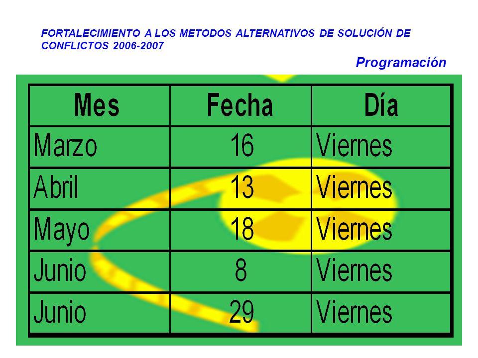 Programación FORTALECIMIENTO A LOS METODOS ALTERNATIVOS DE SOLUCIÓN DE CONFLICTOS 2006-2007