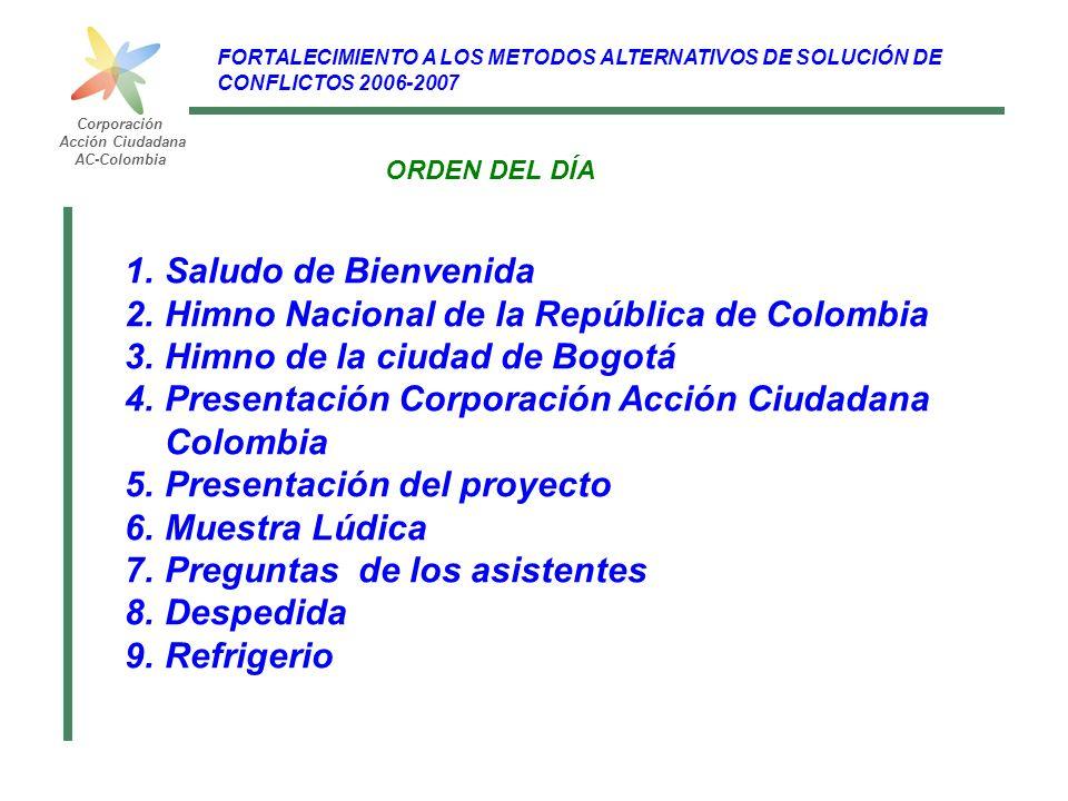 Corporación Acción Ciudadana AC-Colombia FORTALECIMIENTO A LOS METODOS ALTERNATIVOS DE SOLUCIÓN DE CONFLICTOS 2006-2007 ORDEN DEL DÍA 1.Saludo de Bien