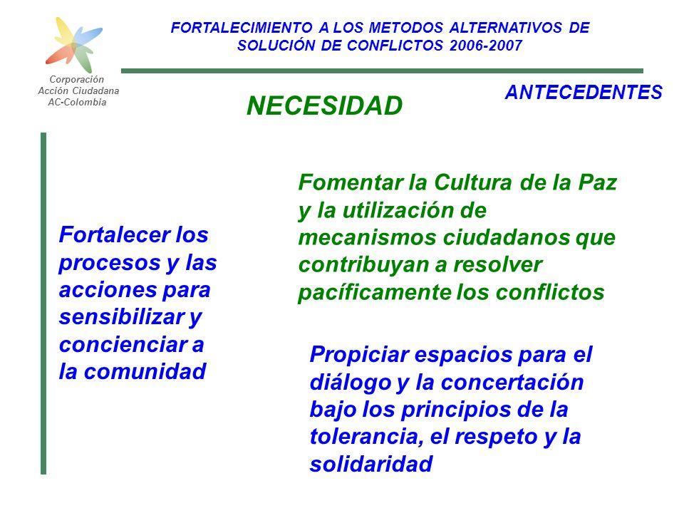 FORTALECIMIENTO A LOS METODOS ALTERNATIVOS DE SOLUCIÓN DE CONFLICTOS 2006-2007 Corporación Acción Ciudadana AC-Colombia ANTECEDENTES Fortalecer los pr