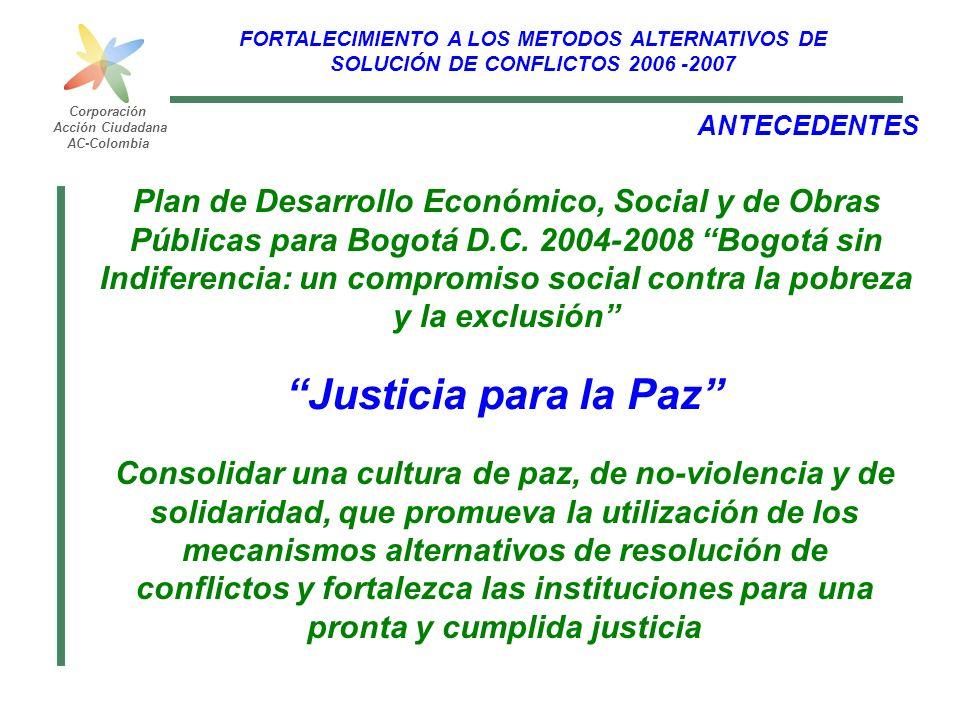 FORTALECIMIENTO A LOS METODOS ALTERNATIVOS DE SOLUCIÓN DE CONFLICTOS 2006 -2007 Corporación Acción Ciudadana AC-Colombia Justicia para la Paz ANTECEDE