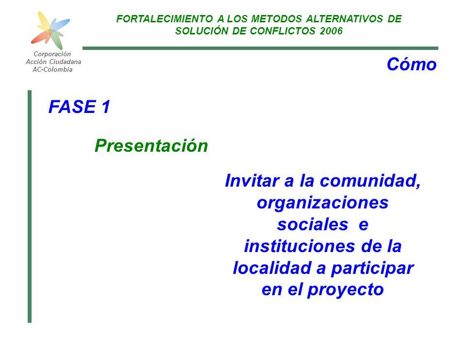 FORTALECIMIENTO A LOS METODOS ALTERNATIVOS DE SOLUCIÓN DE CONFLICTOS 2006 Corporación Acción Ciudadana AC-Colombia Cómo FASE 1 Presentación Invitar a