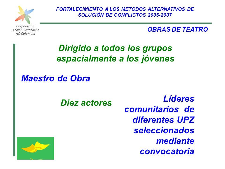FORTALECIMIENTO A LOS METODOS ALTERNATIVOS DE SOLUCIÓN DE CONFLICTOS 2006-2007 Corporación Acción Ciudadana AC-Colombia OBRAS DE TEATRO Líderes comuni