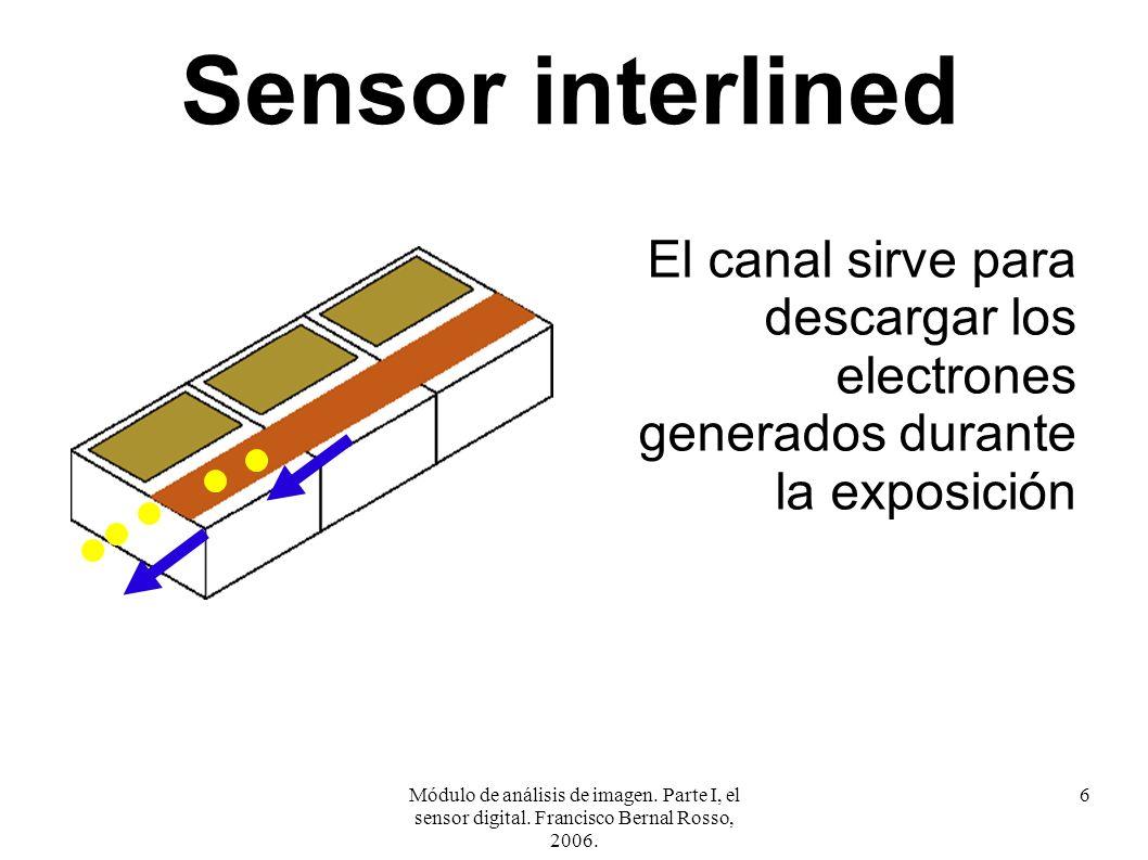 Módulo de análisis de imagen. Parte I, el sensor digital. Francisco Bernal Rosso, 2006. 6 Sensor interlined El canal sirve para descargar los electron