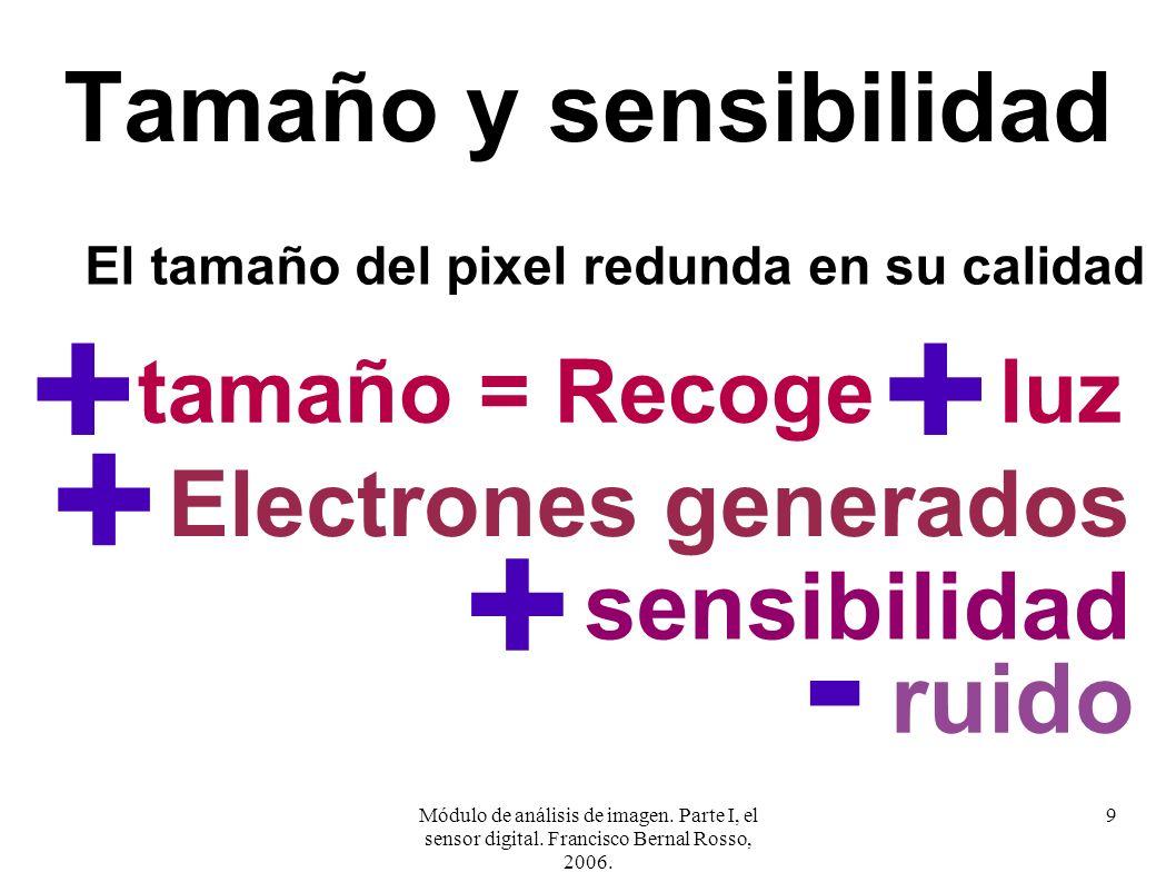 Módulo de análisis de imagen. Parte I, el sensor digital. Francisco Bernal Rosso, 2006. 9 Tamaño y sensibilidad El tamaño del pixel redunda en su cali