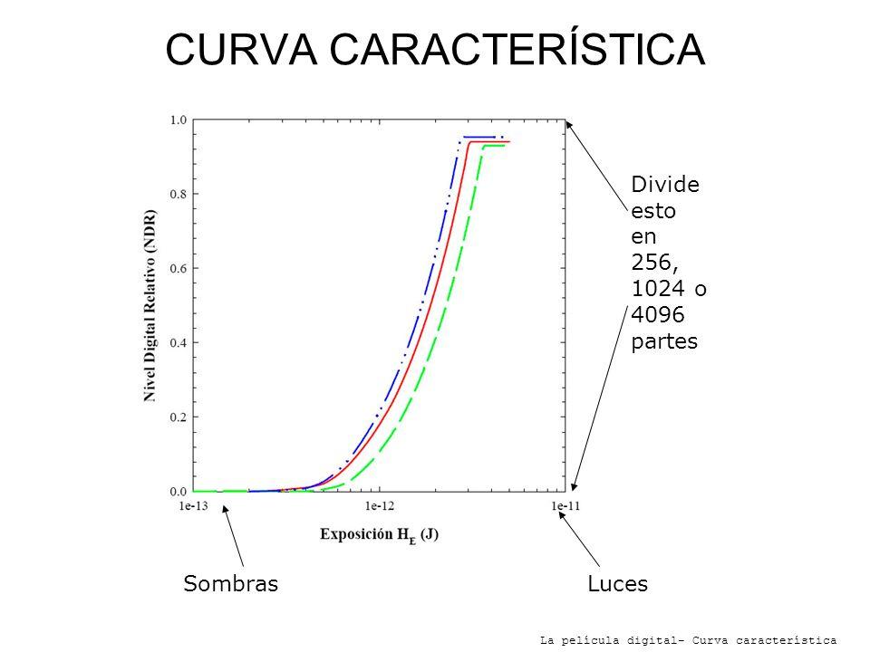 CURVA CARACTERÍSTICA La película digital- Curva característica Divideestoen256,1024 o4096partes LucesSombras