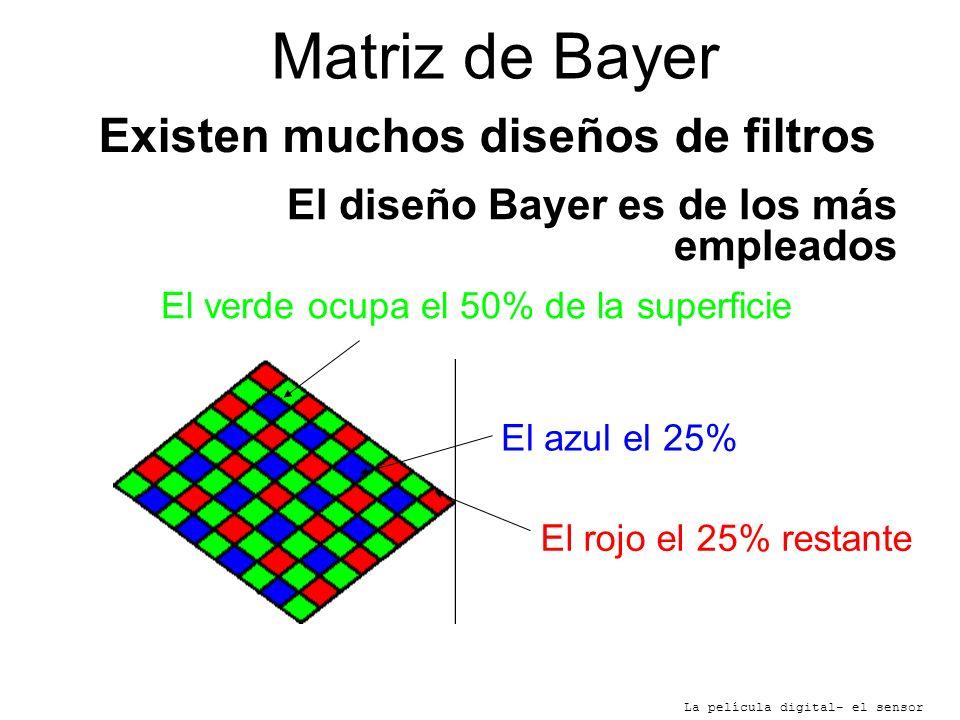 Matriz de Bayer La película digital- el sensor Existen muchos diseños de filtros El diseño Bayer es de los más empleados El verde ocupa el 50% de la s