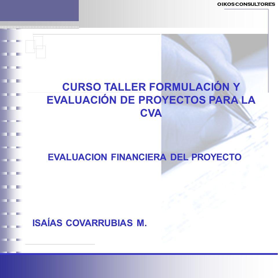 CURSO TALLER FORMULACIÓN Y EVALUACIÓN DE PROYECTOS PARA LA CVA ISAÍAS COVARRUBIAS M. EVALUACION FINANCIERA DEL PROYECTO OIKOS CONSULTORES