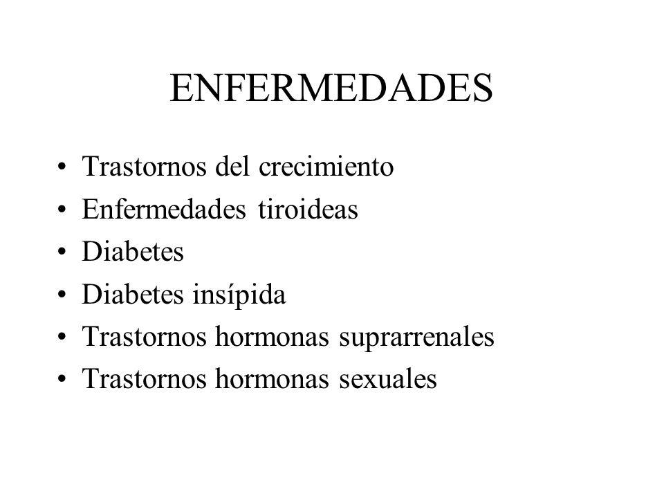 ENFERMEDADES Trastornos del crecimiento Enfermedades tiroideas Diabetes Diabetes insípida Trastornos hormonas suprarrenales Trastornos hormonas sexual
