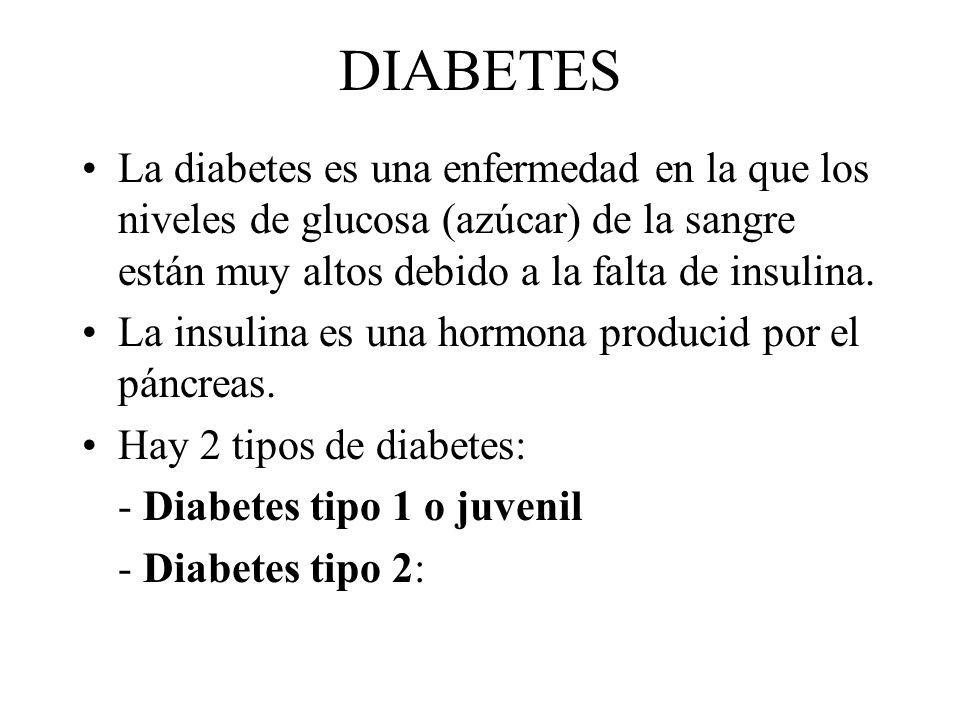 DIABETES La diabetes es una enfermedad en la que los niveles de glucosa (azúcar) de la sangre están muy altos debido a la falta de insulina. La insuli