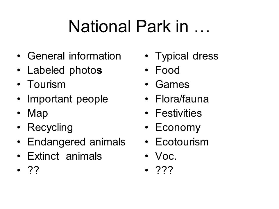 National Park in … General information Labeled photos Tourism Important people Map Recycling Endangered animals Extinct animals ?.