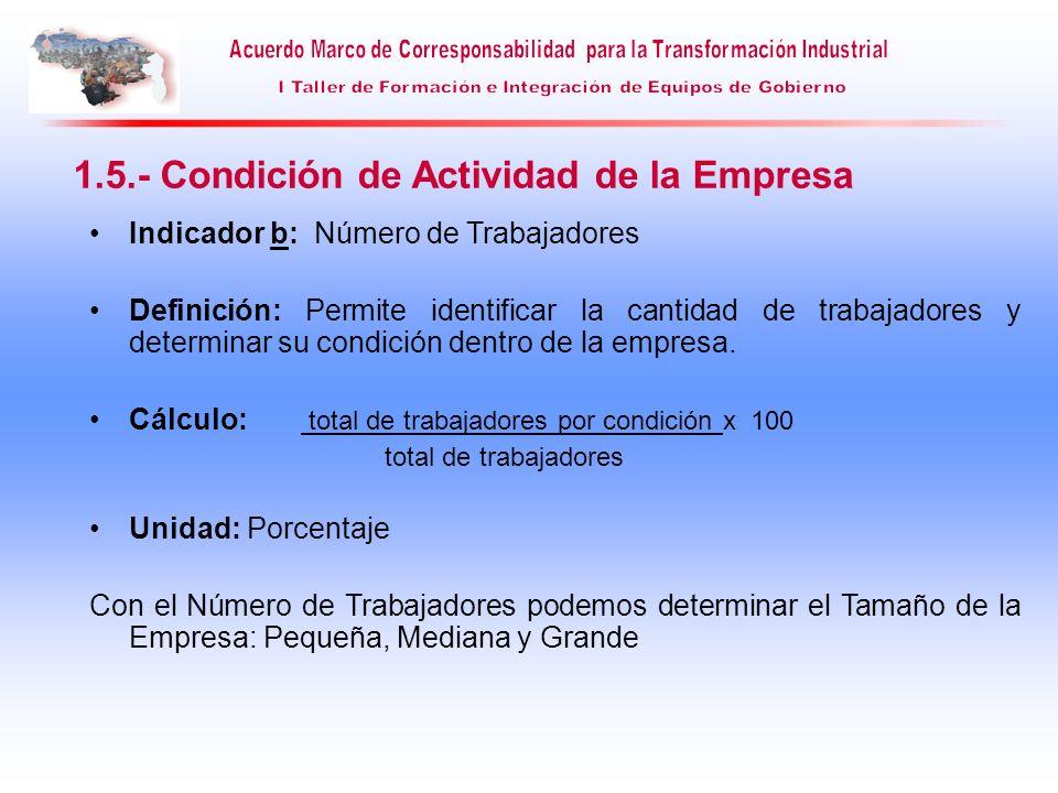 Indicador b: Número de Trabajadores Definición: Permite identificar la cantidad de trabajadores y determinar su condición dentro de la empresa. Cálcul