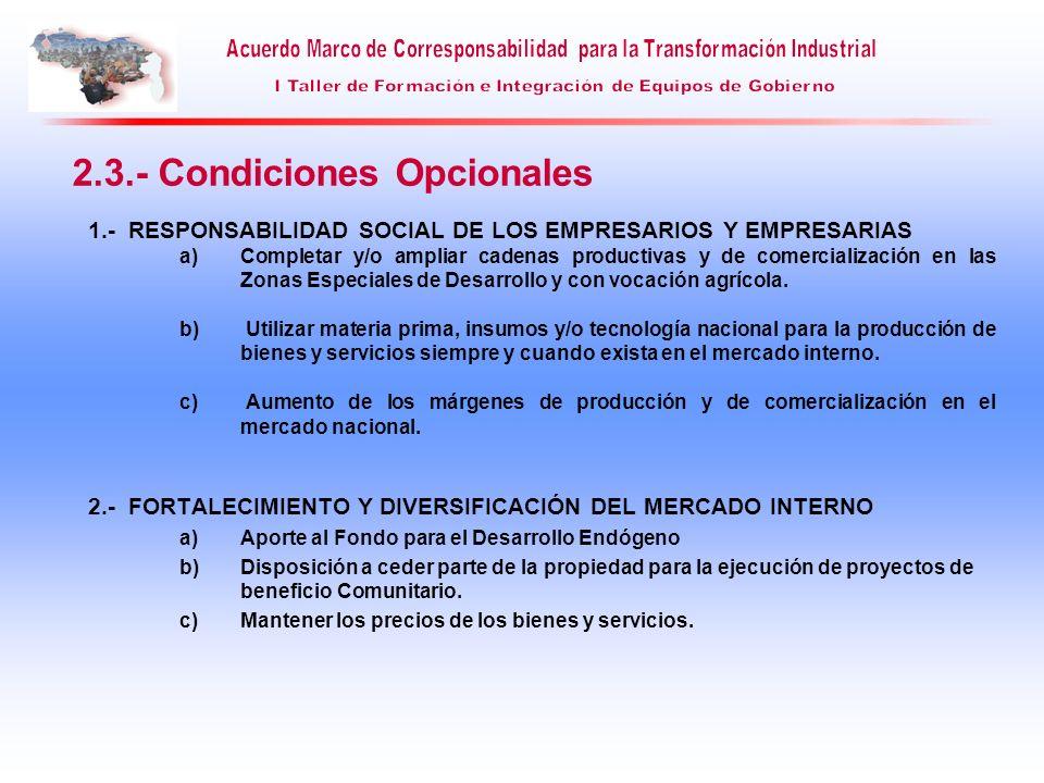 2.3.- Condiciones Opcionales 1.- RESPONSABILIDAD SOCIAL DE LOS EMPRESARIOS Y EMPRESARIAS a)Completar y/o ampliar cadenas productivas y de comercializa