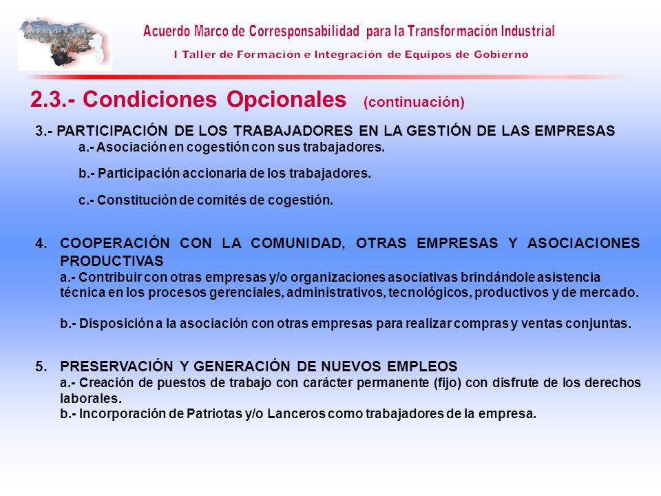 3.- PARTICIPACIÓN DE LOS TRABAJADORES EN LA GESTIÓN DE LAS EMPRESAS a.- Asociación en cogestión con sus trabajadores. b.- Participación accionaria de