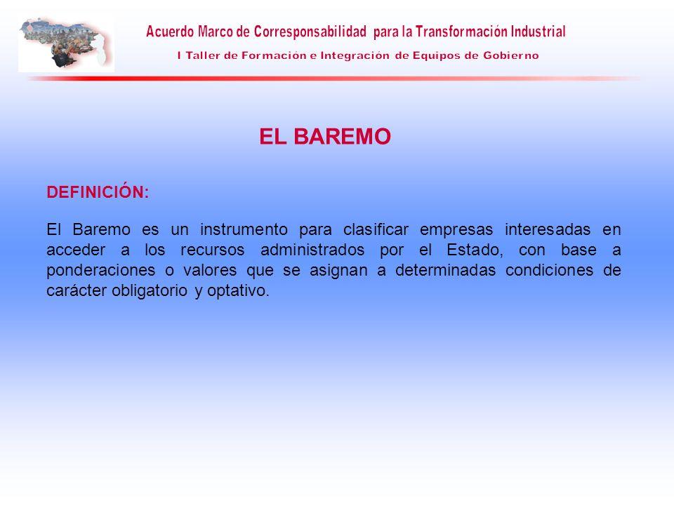 EL BAREMO El Baremo es un instrumento para clasificar empresas interesadas en acceder a los recursos administrados por el Estado, con base a ponderaci