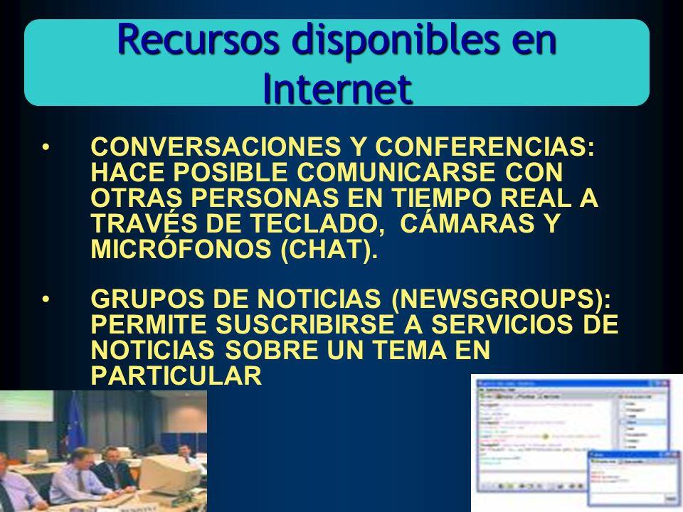 CONVERSACIONES Y CONFERENCIAS: HACE POSIBLE COMUNICARSE CON OTRAS PERSONAS EN TIEMPO REAL A TRAVÉS DE TECLADO, CÁMARAS Y MICRÓFONOS (CHAT). GRUPOS DE