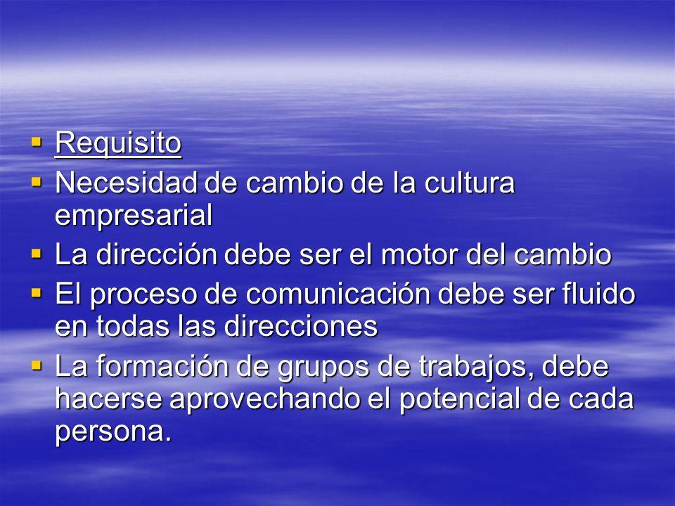 Requisito Requisito Necesidad de cambio de la cultura empresarial Necesidad de cambio de la cultura empresarial La dirección debe ser el motor del cam