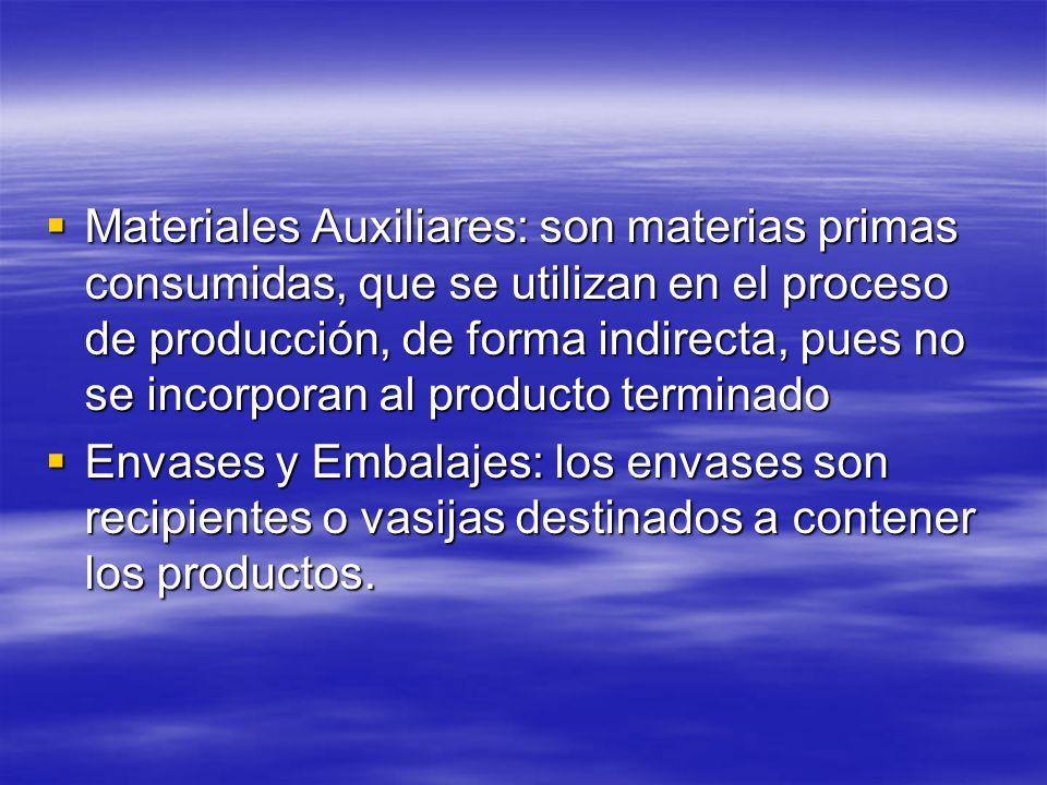 Materiales Auxiliares: son materias primas consumidas, que se utilizan en el proceso de producción, de forma indirecta, pues no se incorporan al produ