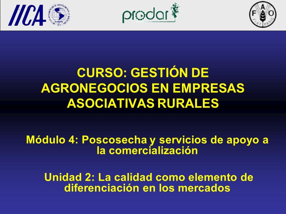 CURSO: GESTIÓN DE AGRONEGOCIOS EN EMPRESAS ASOCIATIVAS RURALES Módulo 4: Poscosecha y servicios de apoyo a la comercialización Unidad 2: La calidad co
