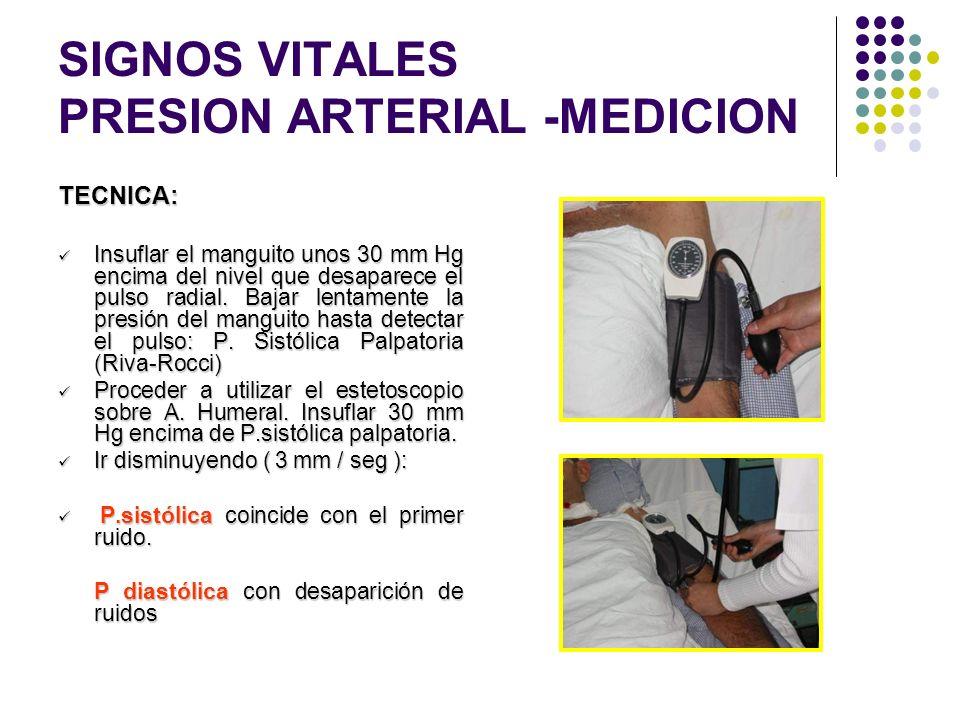 SIGNOS VITALES PRESION ARTERIAL -MEDICION Colocación del brazalete: Seleccione la banda adecuada. Ajuste la banda en forma circular a 2.5 cm por encim