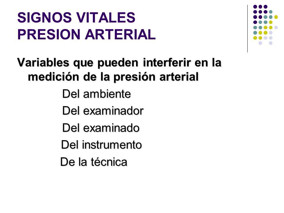 SIGNOS VITALES PRESION ARTERIAL -MEDICION En recién nacidos se usan tablas según peso y horas de nacimiento. En recién nacidos se usan tablas según pe