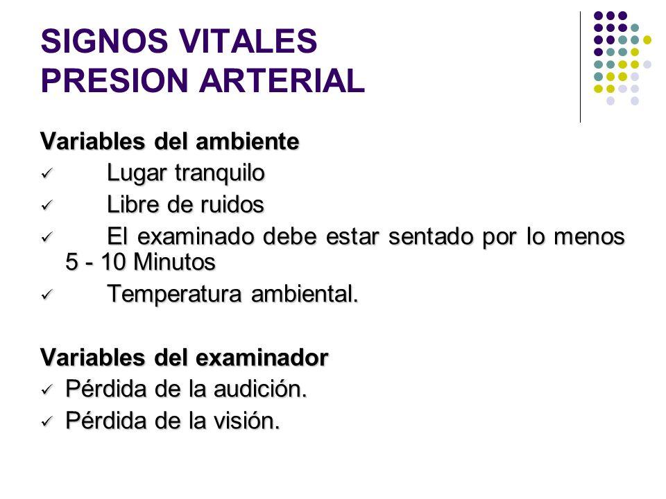 SIGNOS VITALES PRESION ARTERIAL Variables que pueden interferir en la medición de la presión arterial Del ambiente Del ambiente Del examinador Del exa