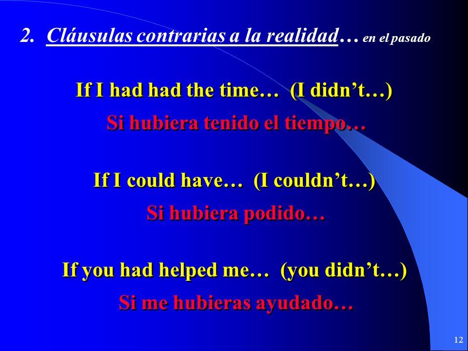 11 2. Contraria a la realidad………en el pasado Si + + pluscuamperfecto del subjuntivo pluscuamperfecto del subjuntivo + + condicional perfecto condicion