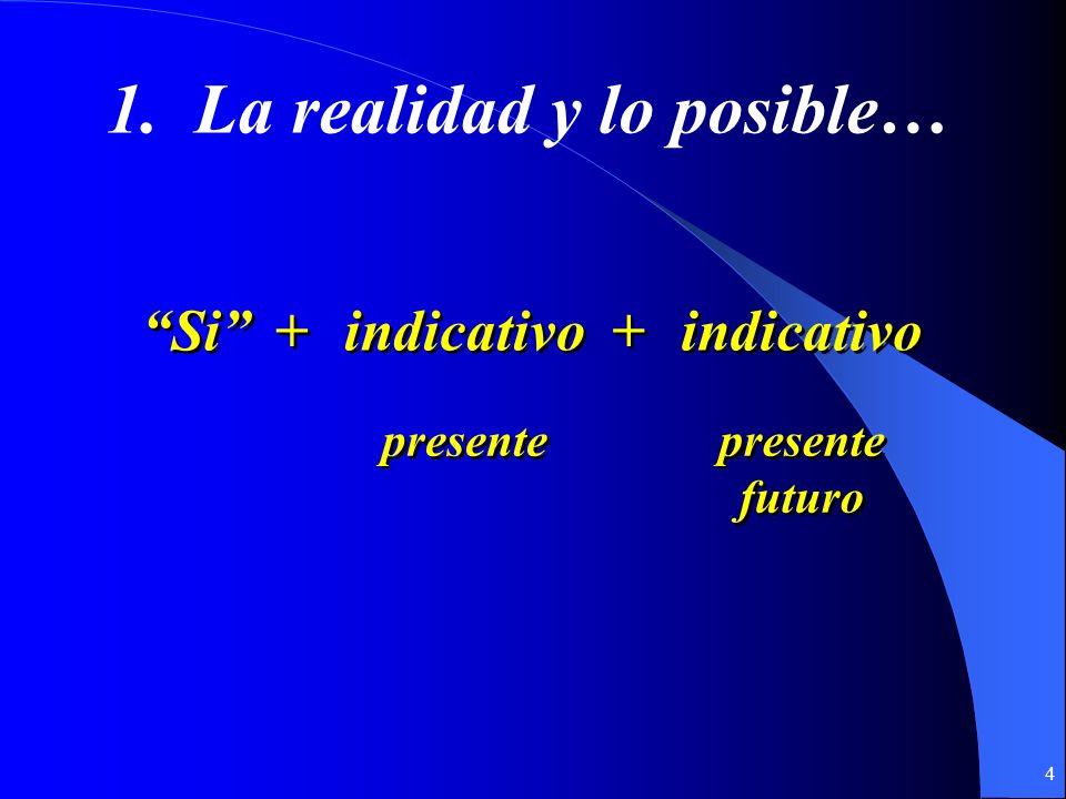 3 Hay dos tipos de cláusulas condicionales que usamos en español: (If…then…)(If…then…) 1. Cláusulas que hablan de la realidad y lo posible… 2. Cláusul