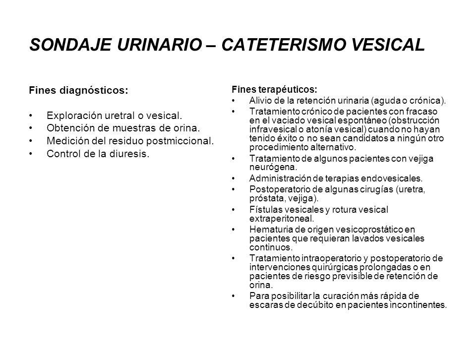 SONDAJE URINARIO – CATETERISMO VESICAL Fines diagnósticos: Exploración uretral o vesical. Obtención de muestras de orina. Medición del residuo postmic