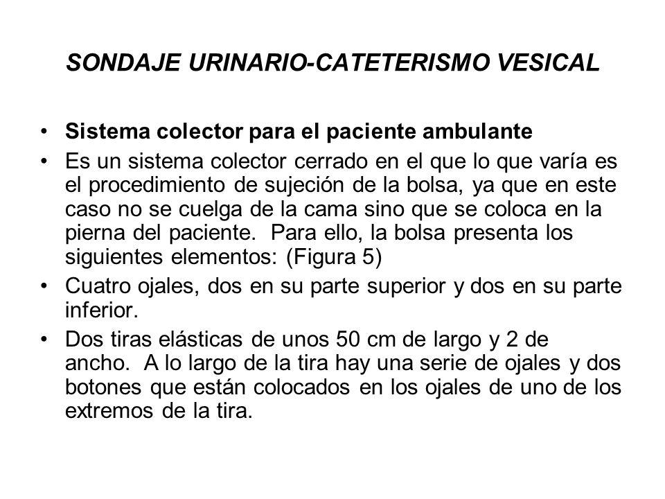 SONDAJE URINARIO-CATETERISMO VESICAL Sistema colector para el paciente ambulante Es un sistema colector cerrado en el que lo que varía es el procedimi