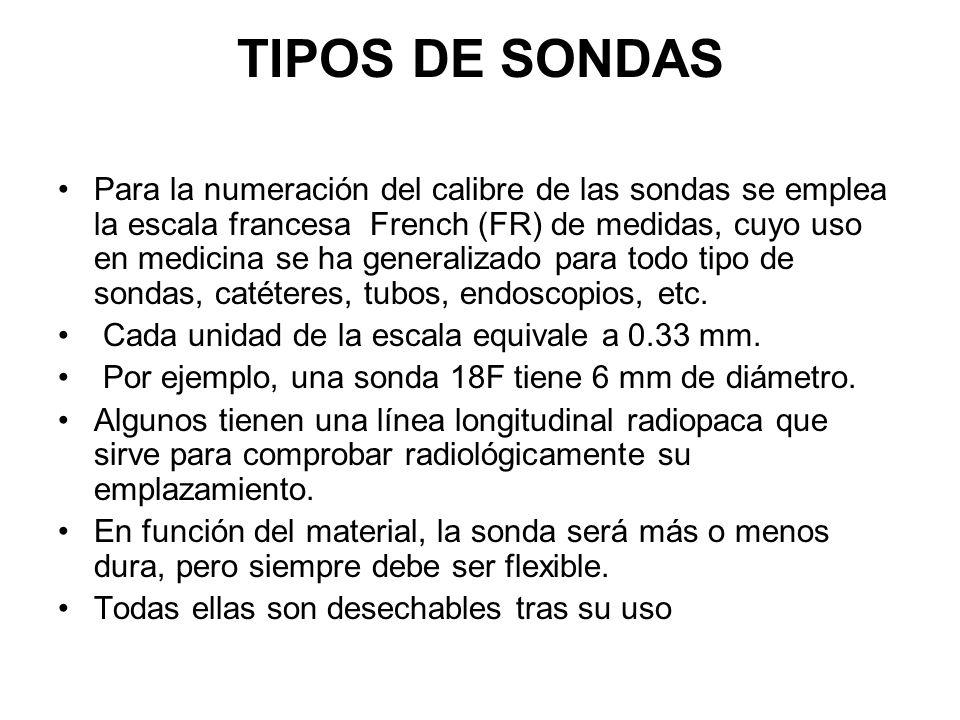 TIPOS DE SONDAS Para la numeración del calibre de las sondas se emplea la escala francesa French (FR) de medidas, cuyo uso en medicina se ha generaliz