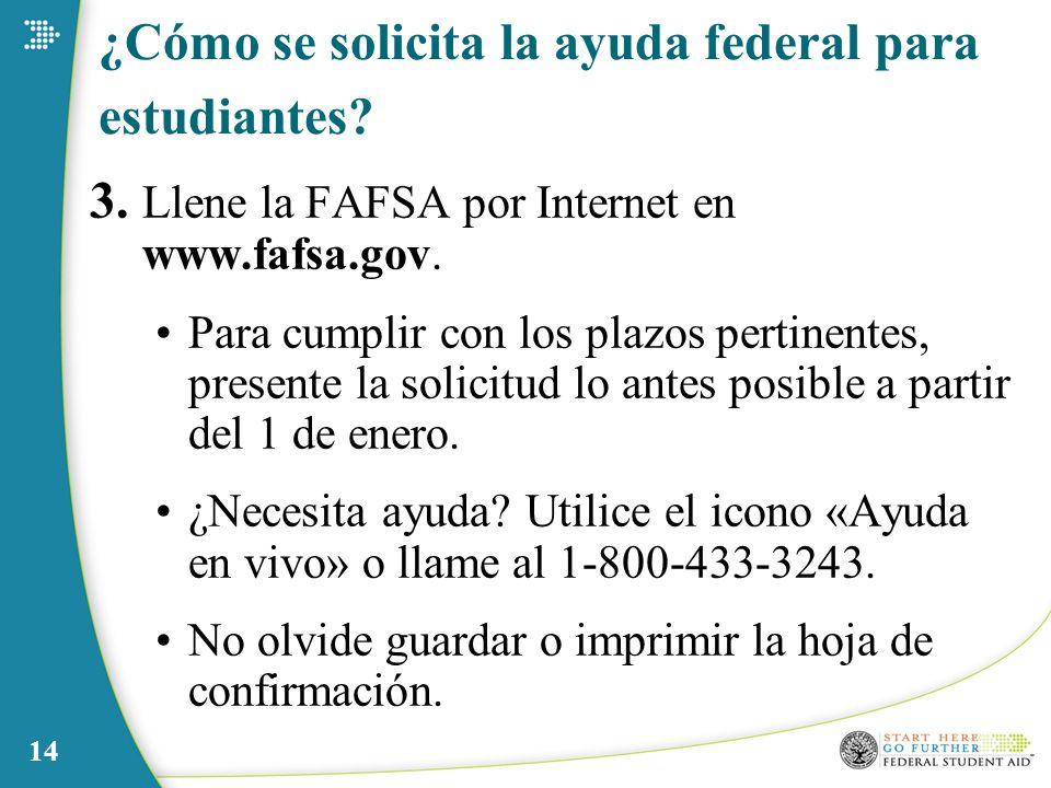 14 ¿Cómo se solicita la ayuda federal para estudiantes? 3. Llene la FAFSA por Internet en www.fafsa.gov. Para cumplir con los plazos pertinentes, pres